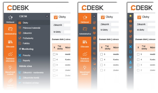 Nové menu - 1.Plná velikost 2.Zbalený režim 3.Zbalené Oblíbené