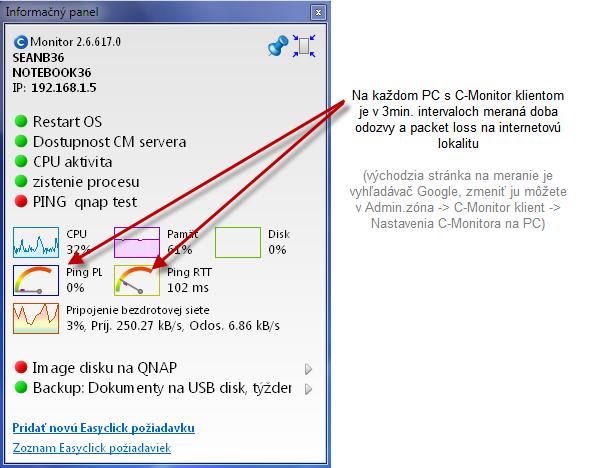 Informačný panel a budíky pre signalizáciu kvality pripojenia.