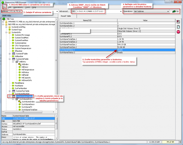 Postup určenia SNMP parametra pomocou programu iReasoning MIB Browser