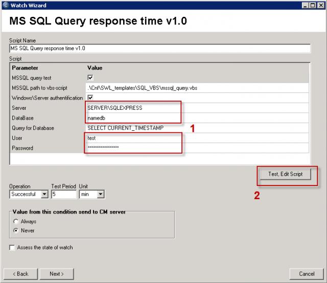 Políčka pre zadanie názvu SQL servera, názvu databázy, prístupových údajov.  Pokračujte pretestovaním skriptu a zadaných údajov