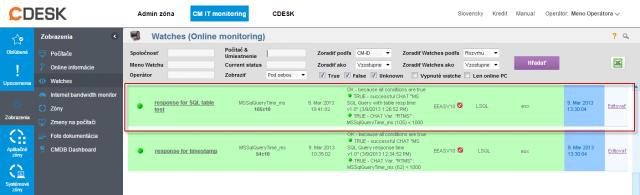 Ukážka nameraných údajov na CM portáli